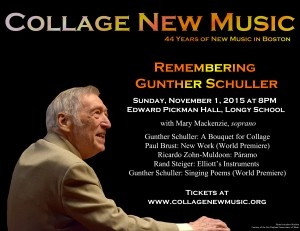 World Premiere of Gunther Schuller's Singing Poems (2015) by Collage New Music